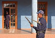 Armored car guards with rife in Vinales, Pinar del Rio, Cuba.