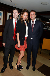 Left to right, JOSH SPERO, JEMIMA JONES and BEN GOLDSMITH at a party to celebrate Ben Goldsmith guest-editing the July/August 2013 edition of Spears Magazine held at 45 Park Lane, London on 19th June 2013.