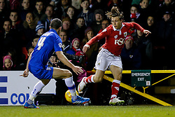 Luke Freeman of Bristol City is challenged by John Egan of Gillingham - Photo mandatory by-line: Rogan Thomson/JMP - 07966 386802 - 29/01/2015 - SPORT - FOOTBALL - Bristol, England - Ashton Gate Stadium - Bristol City v Gillingham - Johnstone's Paint Trophy Southern Area Final Second Leg.