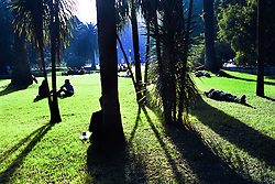 BUENOS AIRES, ARGENTINA: Locals sit under the afternoon sun at a park in Buenos Aires. (Photo by Ami Vitale)