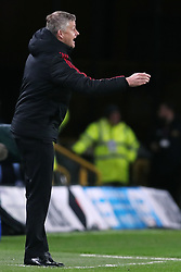 Manchester United interim manager Ole Gunnar Solskjaer gestures on the touchline during the FA Cup quarter final match at Molineux, Wolverhampton.