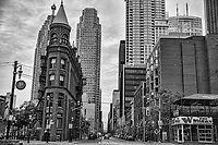 Gooderham Flatiron Building & Wellington Street (monochrome)