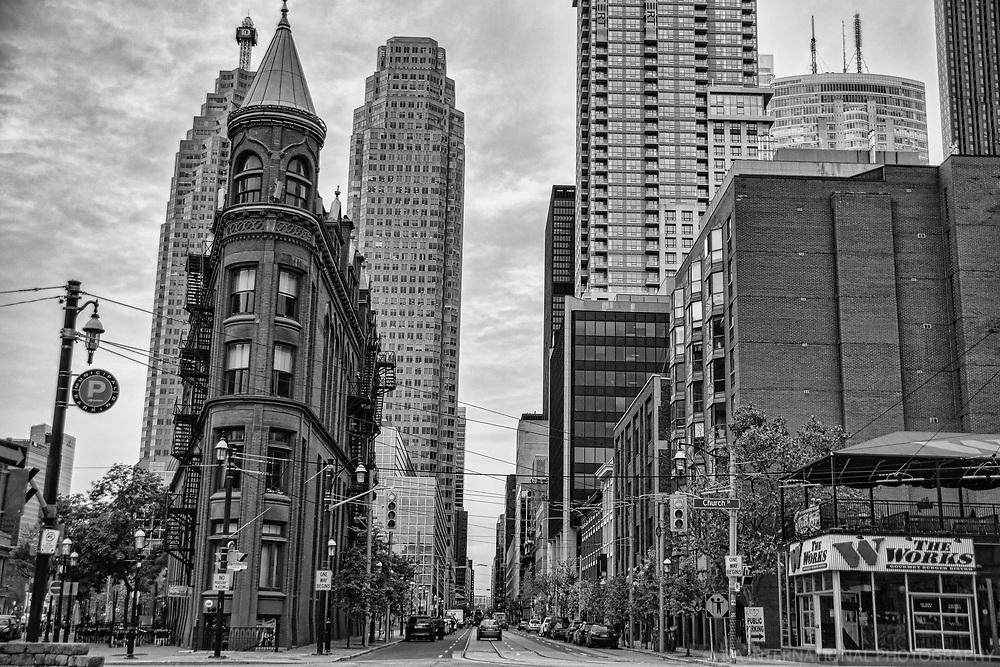 Gooderham Flatiron Building & Wellington Street (monochrome)