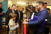 Getafe CF's President Angel Torres, Amath Ndiaye, Filip Manojlovic and the coach Jose Bordalas during the Christmas visit to the Children's Hospital of the city. December 12,2017. (ALTERPHOTOS/Acero)
