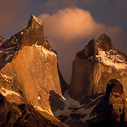 The Horns (las Cuernos) and Lago Pehoe in Torres del Paine National Park, Patagonia, Chile.