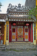 Ornate facade of an old Chinese temple in Hoi An, Vietnam, Southeast Asia