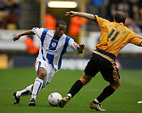 Photo: Rich Eaton.<br /> <br /> Wolverhampton Wanderers v Sheffield Wednesday. Coca Cola Championship. 28/10/2006. Wade Small left who scored Wednesdays first goal tries to get past Jamie Clapham