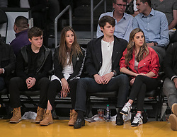 February 8, 2018 - Los Angeles, California, U.S - Scarlet Rose Stallone (L-R), Connor Spears and Sophia  Rose Stallone attend the NBA game between the Los  Angeles Lakers and the Oklahoma Thunder on Thursday  February 8, 2018 at the Staples Center in Los Angeles,  California. Lakers defeat Thunder, 106-81. (Credit Image: © Prensa Internacional via ZUMA Wire)
