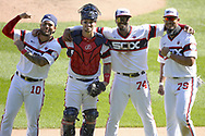 CHICAGO - AUGUST 16:  (L to R) Yoan Moncada #10, Yasmani Grandal #24, Eloy Jimenez #74 and Jose Abreu #79 of the Chicago White Sox pose for a postgame photo after the foursome hit four consecutive home runs off of Roel Ramirez #77 of the St. Louis Cardinals during the fifth inning on August 16, 2020 at Guaranteed Rate Field in Chicago, Illinois.  The four consecutive home runs hit by the White Sox was only the tenth time in Major League Baseball history that this feat has been accomplished.  (Photo by Ron Vesely)