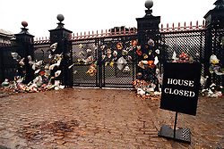 The flower covered gates to the Spencer family estate at Althorp near Northampton today (Monday) where Diana, Princess of Wales is buried.