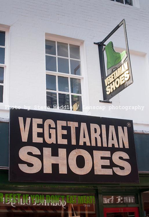 Vegetarian Shoes Shop, North Laine, Gardner Street, Brighton, Sussex, Britain - 06 Apr 2010