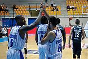 Esultanza Cantù, RED OCTOBER CANTU' vs DOLOMITI ENERGIA TRENTINO, 2°giornata Campionato Lega Basket Serie A 2018/2019, PalaDesio 14 ottobre 2018 - FOTO: Bertani/Ciamillo