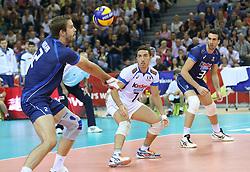 07.09.2014, Krakow Arena, Krakau, POL, FIVB WM, Italien vs USA, Gruppe D, im Bild JIRI KOVAR, SALVATORE ROSSINI,SIMONE PARODI // during the FIVB Volleyball Men's World Championships Pool D Match beween Italy and USA at the Krakow Arena in Krakau, Poland on 2014/09/07. EXPA Pictures © 2014, PhotoCredit: EXPA/ Newspix/ Tomasz Markowski<br /> <br /> *****ATTENTION - for AUT, SLO, CRO, SRB, BIH, MAZ, TUR, SUI, SWE only*****