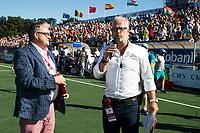 BREDA -  Nick Irvine, famous hockeycommentator, met John  Stubbe (r) Australia-India (1-1), finale Rabobank Champions Trophy 2018. Australia wint shoot outs.  COPYRIGHT  KOEN SUYK