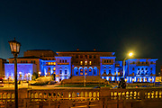 Memorial Union is lit up with blue lights April 30th to honor healthcare workers battling the COVID-19 pandemic. (Photo © Andy Manis)