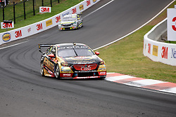 October 7, 2018 - Bathurst, NSW, U.S. - BATHURST, NSW - OCTOBER 07: David Reynolds / Luke Youlden in the Erebus Penrite Racing Holden Commodore being chased down by Race Winners Craig Lowndes / Steven Richards in the Autobarn Lowndes Racing Holden Commodore at the Supercheap Auto Bathurst 1000 V8 Supercar Race at Mount Panorama Circuit in Bathurst, Australia on October 07, 2018 (Photo by Speed Media/Icon Sportswire) (Credit Image: © Speed Media/Icon SMI via ZUMA Press)