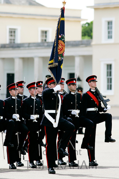 Officer parade of cadets marching at their passing out graduation parade Sandhurst Military Academy, Surrey