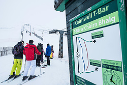 Glenshee, Scotland, United Kingdom. 3 February, 2018. New snow falls at Glenshee Ski Centre in the Cairngorms brought many skiers eager to enjoy the good calm conditions. The weather is expected to be good for the rest of the weekend and large crowds are expected to take advantage of excellent skiing conditions.