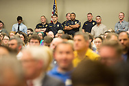 Security at the Bayou Bridge permit hearing in Baton Rouge, LA.