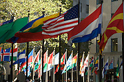 flags of various countries at Rockefeller Center