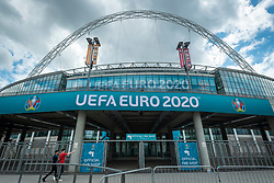 © Licensed to London News Pictures. 10/06/2021. LONDON, UK.  Signage around Wembley Stadium for the upcoming 2020 UEFA European Football Championship, commonly known as Euro 2020.  The tournament was postponed from 2020 due to the COVID-19 pandemic in Europe and rescheduled for 11 June to 11 July 2021 with matches to be played in 11 cities in 11 UEFA countries.  Wembley Stadium will host certain group matches including England v Croatia on 13 June, as well as the semi-finals and final itself.  Photo credit: Stephen Chung/LNP