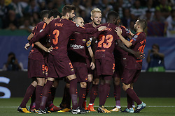 September 27, 2017 - Lisbon, Portugal - Barcelona team celebrate their goal scored by Sporting's defender Sebastian Coates during  the Champions League 2017/18 match between Sporting CP vs FC Barcelona, in Lisbon, on September 27, 2017. (Credit Image: © Carlos Palma/NurPhoto via ZUMA Press)