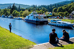 Pleasure craft moored on the Caledonian Canal at Dochgarroch, Inverness-shire<br /> <br /> (c) Andrew Wilson   Edinburgh Elite media