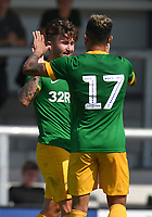 Preston North End's Sean Maguire is congratulated on scoring his hat trick<br /> <br /> Photographer Dave Howarth/CameraSport<br /> <br /> Football Pre-Season Friendly - AFC Flyde v Preston North End - Saturday July 13th 2019 - Mill Farm - Flyde<br /> <br /> World Copyright © 2019 CameraSport. All rights reserved. 43 Linden Ave. Countesthorpe. Leicester. England. LE8 5PG - Tel: +44 (0) 116 277 4147 - admin@camerasport.com - www.camerasport.com