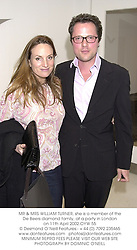 MR & MRS WILLIAM TURNER, she is a member of the De Beers diamond family, at a party in London on 11th April 2002.OYW 55