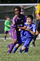13 September 2015. Gonzales, Louisiana.<br /> U10 New Orleans Jesters Academy team Purple against Gonzales Soccer Club. Jesters emerge victorious. <br /> Photo©; Charlie Varley/varleypix.com