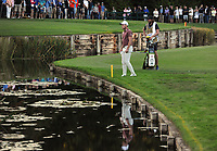 Golf - 2019 BMW PGA Championship - Thursday, First Round<br /> <br /> Danny Willett of England after going in the water at the 18th hole, at the West Course, Wentworth Golf Club.<br /> <br /> COLORSPORT/ANDREW COWIE