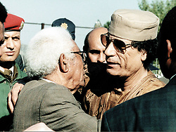MUAMMAR GHADAFFI AND WALTER SISULU AT HECTOR PETERSON MEMORIAL IN SOWETO.  TUESDAY. 15.6.99. Picture: Debbie Yazbek/African News Agency(ANA)