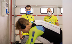 Jan Tratnik of Slovenia, Andrej Hauptman and Ezio Bozzolo of Team Slovenia at warming up during Men Time Trial at UCI Road World Championship 2020, on September 24, 2020 in Imola, Italy. Photo by Vid Ponikvar / Sportida