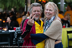 Arlin Fatland and Donna Maupin at the home of Kim and Jon Borneman after the Arlen Ness Memorial - Celebration of Life. Pleasanton, CA, USA. Saturday, April 27, 2019. Photography ©2019 Michael Lichter.