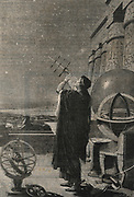 Astronomer in ancient Alexandria observing stars with a cross-staff.