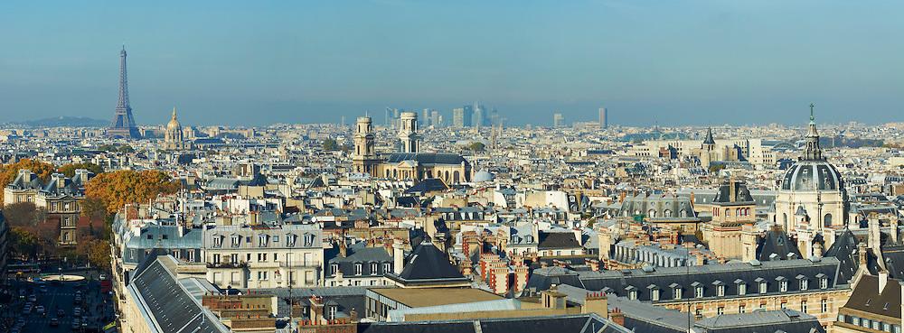 France, Paris (75), la Sorbonne, église Saint-Sulpice , la Tour Eiffel et les Invalides // France, Paris, the Sorbonne, Saint-Sulpice church, Eiffel Tower and Hotel des Invalides