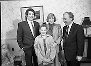 """""""Guildford Four"""" Release Committee.  (R98)..1989..20.03.1989..03.20.1989..20th March 1989..Two of the """"Guildford Four"""" release committee met with An Taoiseach, Charles Haughey,in his office in Government Buildings, Leinster House,Dublin today...Image shows Mr Errol Smalley and his wife Teresa, Secretary, Guildford Four Release Committee, and their daughter who met with An Taoiseach, Charles Haughey in his offices today."""