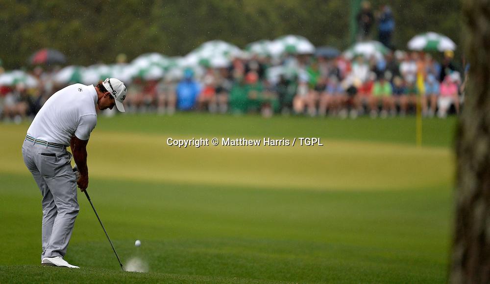 Adam SCOTT (AUS) plays 2nd shot to 14th par 4 during fourth round,US Masters 2013,Augusta National,Augusta,Georgia,USA.