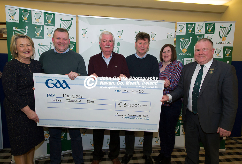 20-01-20. Leinster GAA Club Development Grant Cheque Presentations (See Press Release) at Aras Laighean, Portlaoise.<br /> GAA National Finance Manager Kathy Slattery and Jim Bolger (Right), Cathoirleach, Comhairle Laighean pictured presenting a cheque for €30,000 to Kilcock GAA Club. Co. Kildare represented by from left, Donal Cummins, Treasurer. Peter Divilly, Assistant Treasurer. Eamonn Costello, Development Committee and Patria Dobbins, Development Officer, Kildare GAA.<br /> Photo: John Quirke / www.quirke.ie<br /> ©John Quirke Photography, Unit 17, Blackcastle Shopping Cte. Navan. Co. Meath. 046-9079044 / 087-2579454.