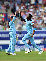 Cricket - 2019 ICC Cricket World Cup - Group Stage: England vs. South Africa<br /> <br /> England's Jofra Archer celebrates taking the wicket of South Africa's Aiden Markram with Eoin Morgan, at The Kia Oval.<br /> <br /> COLORSPORT/ASHLEY WESTERN