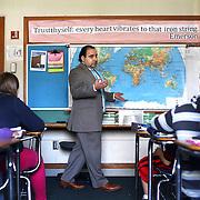 Erick Flores teaches an ESL class at Alice Ott Middle School in Portland.