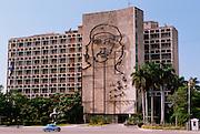 CUBA, HAVANA (CENTRO HABANA) Plaza de la Revolucion; the Ministry of the Interior with a huge portrait of Che Guevara on its side