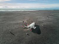 ICELAND - 16 March 2017 : Aerial view of Solheimasandur plane wreck in Iceland.