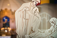 Etched glass depicting Jesus Christ as an infant is seen against the sanctuary and altar at Gethsemane Lutheran Church on Tuesday, July 28, 2020, in St. Louis.  LCMS Communications/Erik M. Lunsford