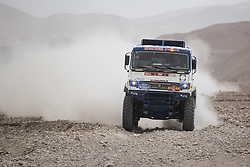 MOQUEGUA, Jan. 12, 2019  Russian driver Andrey Karginov and co-driver Andrey Mokeev compete during the 5th stage of the 2019 Dakar Rally Race, near Moquegua, Peru, on Jan. 11, 2019. Andrey Karginov and Andrey Mokeev finished the 5th stage with 6 hours 5 minutes and 20 seconds. (Credit Image: © Xinhua via ZUMA Wire)