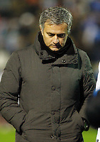 Real Madrid's coach Jose Mourinho during the 1st leg of a last-16 Copa del Rey soccer match against Celta at the Balaídos stadium in Vigo, Spain, Wednesday Dec. 12, 2012.