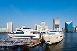 New Al Seef marina on the Creek with  adjacent to new heritage district in Dubai, United Arab Emirates