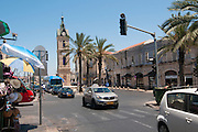 Israel, Jaffa, The Old clock tower in Jaffa, Clock Square, as seen from Yefet Street. Built in 1906 in honor of Sultan Abed al-Hamid II's 25th anniversary, became the center of Jaffa, and it is centered between Jaffa's markets
