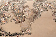 Details of the Mona Lisa of the Galilee portrait a scene from The Wedding of Dionysus and Ariadne AKA Dionysus Mosaic, on the floor of the Roman Villa. Israel, Lower Galilee, Zippori National Park The city of Zippori (Sepphoris) A Roman Byzantine period city with an abundance of mosaics