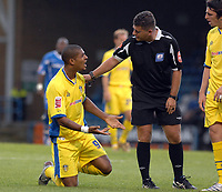 Photo: Ashley Pickering.<br /> Gillingham v Leeds United. Coca Cola League 1. 29/09/2007.<br /> Ref Danny McDermid has a word with Jermaine Beckford of Leeds who he later sent off